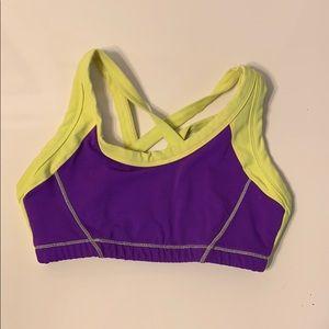 Tops - Sports bra purple neon yellow  lycra